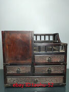 """11.8""""old Chinese Antiques Huanghuali Wood Storage Box Dressing Table Ornaments"""