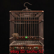 """15.7""""collecting Chinese Antiques Handmade Wood Inlaid Gem Shell Bird Cage"""