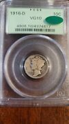 1916 D Mercury Dime Ogh Pcgs Vg 10 Cac W/ Light Pink Hue Full Rims Rotated Die