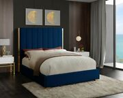 Polished Gold Metal Frame Contemporary Navy Channel Tuffing Queen Size Bed