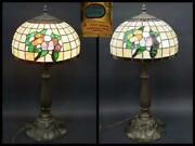 Made In The U.s. Large Stained Glass Lamp Lotus Work Copper Stand