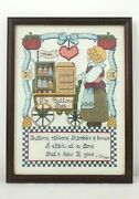 Vintage Finished Counted Cross Stitch Sewing Theme The Button Box Glass Framed