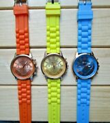 Lot Of 3 Geneva Silicone Band Watches