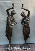 32 Rare China Bronze Beauty Belle Fairy Woman Candle Holder Candlestick Pair
