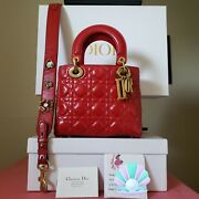 4700 Lady Dior Abc Red Calfskin Gold Hw Small Bag