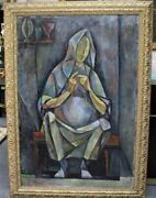 Emanuel Romano Glicen Rare 1960 Knitting Figure Oil On Canvas Painting, Signed