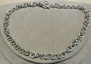 Heavy Sterling Silver Rolo Chain Toggle Necklace 16