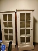 2 Vintage Matching Solid Wood 8 Glass Panes Book/china Cases/cabinets