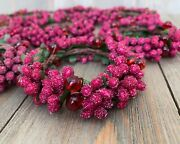Beaded Rings Wreath Ornaments Frosted Berries Fuchsia Pink Red Dandeacutecor Christmas