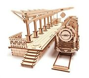 Nugears Mechanical Models Locomotive With Tender And Railway Platform 3d Puzzle