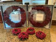 2 Restoration Hardware Red Winterberry 13 Christmas Wreaths And 4 Napkin Rings