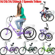 Adult Kids Tricycles 7 Speeds Trikes 14/20/24/26inch 3 Wheel Bikes With Basket