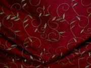 25-3/4y Kravet 24637 Metallic Gold Wine Red Embroidered Silk Upholstery Fabric