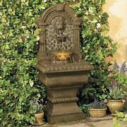 Outdoor Wall Water Fountain With Light Led 51 Lion's Head For Yard Garden Patio