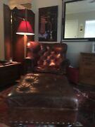 Brown Leather Iconic Writerand039s Club Chair And Ottoman -