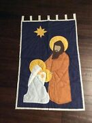 Christmas Nativity Quilt Top Wall Hanging Panel Fabric Finished Wall Hanging