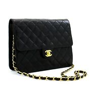 D30 Authentic Small Chain Shoulder Bag Clutch Black Quilted Flap Lambskin