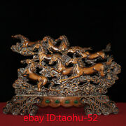 """23.6""""old Chinese Antiques Huanghuali Wood Eight Steeds Screen Ornaments"""
