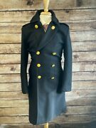 Rrl Wool Officers Pea Coat Military Jacket Size 38r S Black