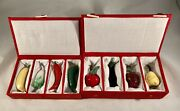 2 Sets 4 Each Murano Glass Mini Fruits And Vegetables In Boxes