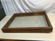 Antique Wood Herb Garden Vegetable Drying Rack With Galvanized Screen Farm Tool