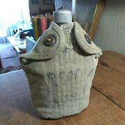 Wwii U.s. Canteen Cover 1941 Canteen 1942 And Cup 1943 All Original With Markings