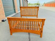 Beautiful Queen Size Arts And Crafts Mission Style Oak Bed Frame