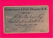 1890 Coudersport Port Allegany Low 577 Railroad Railway Rr Ry Pass