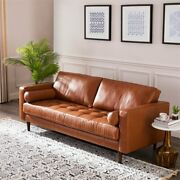 Mid Century Modern Sofa Top Grain Leather Tufted Loveseat Camel Finish Couch