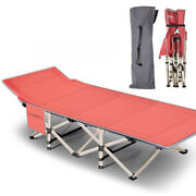 Folding Camping Cot Outdoor Military Hiking Sleeping Cots Bed W/carry Bag Red