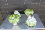 Stunning Set Of 4 Large Leaded Glass Light Shade Chandelier Handel B And H