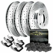 For 2016-2020 Nissan Titan Xd Hart Brakes Front Rear Silver Zinc Cross Drilled