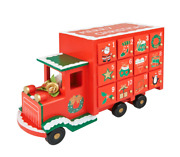 Wooden Advent Truck- Red Christmas Advent Calendar With Drawers