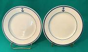 Early Original Two Us Navy Mess Hall Wardroom Anchor Logo Bread And Butter Plates