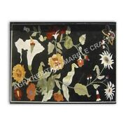 4and039x3and039 Black Marble Contemporary Table Top Marquetry Inlay Floral Home Decor E968
