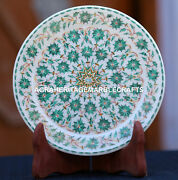 Antique White Marble Round Serving Plate Mosaic Malachite Inlay Home Decor H1953