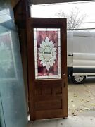 Cr 1 Antique Refinished Oak Entrance Door Stained Glass 31.75 X 82 X 1.75