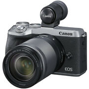 New Canon Eos M6 Mark Ii Digital Camera Silver With Viewfinder And 18-150mm Lens