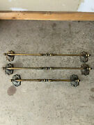 3 Vtg Mid Century Amerock Carriage House 26 And 20in Towel Bar Rack Holders Brass