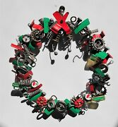 Manly Man Scrap Metal Vintage Tool Mancave Christmas Holiday Wreath Sculpture
