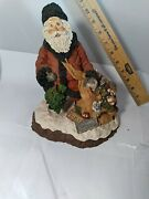 Vintage Signed And Dated June Mckenna 1988 Snow Santa Christmas Toys Bag