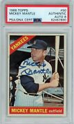 1966 Topps 50 Mickey Mantle Signed/auto Psa/dna Hof New York Yankees Goat