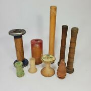 Vtg Lot Of 9 Wooden Industrial Mill Spools Bobbins 3 To 9 Antique Collection
