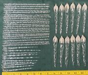 42 Vintage Clear Spun Glass Sparkling Icicles Christmas Tree Ornaments Lot