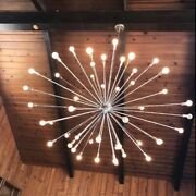 Vintage Antique Chandelier Lighting. modernist 60s-70s Made Of Brass And Glass.