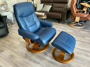 Fjords Muldal Large Recliner Chair And Ottoman Blue Soft Line Leather Teak Wood