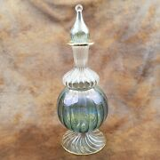 Egyptian Two's Chantilly Hand Blown Glass Decanter 11.5 Genie Bottle Gold Trim