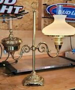 Vintage Brass Student Desk Electrical Lamp, Milk Glass Shade -gorgeous