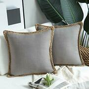 Pack Of 2 Farmhouse Decorative Throw Pillow Covers Burlap 18 X 18-inch Gray