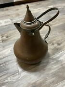 Antique Large Hammered Tall Copper Water Or Coffee Pot Kettle
